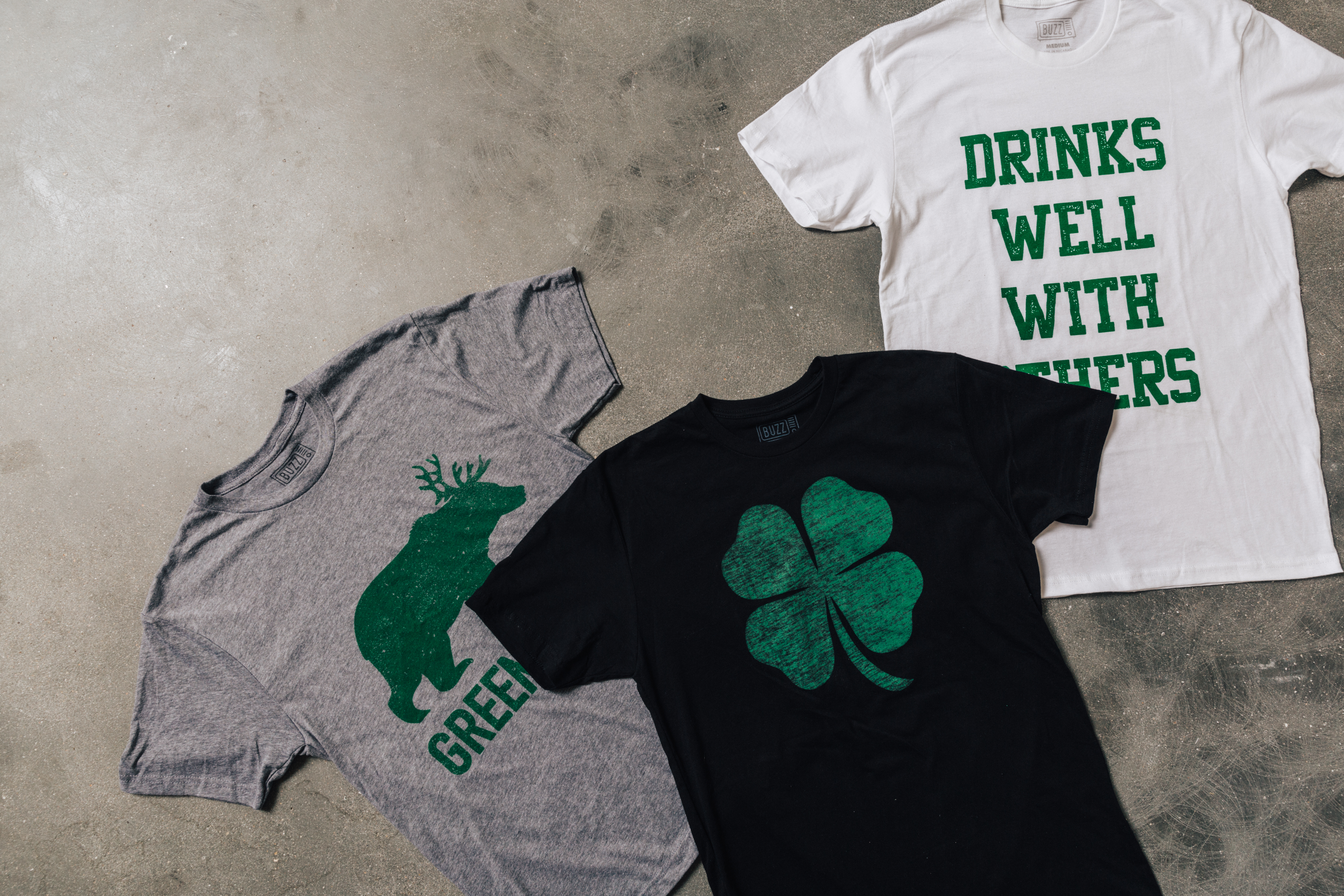 men's drinking tees with green color scheme