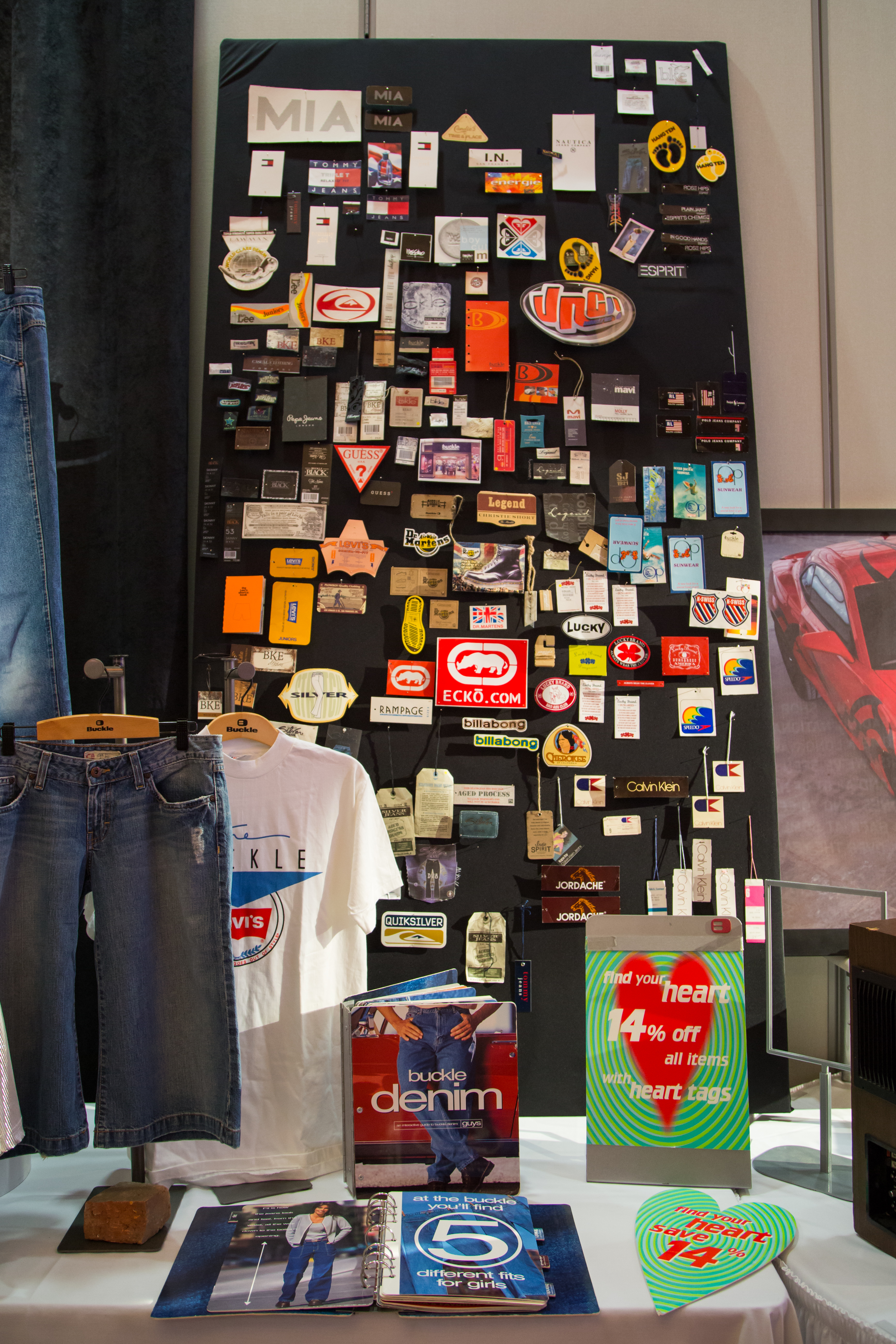 Vintage brands that Buckle has carried over the years.