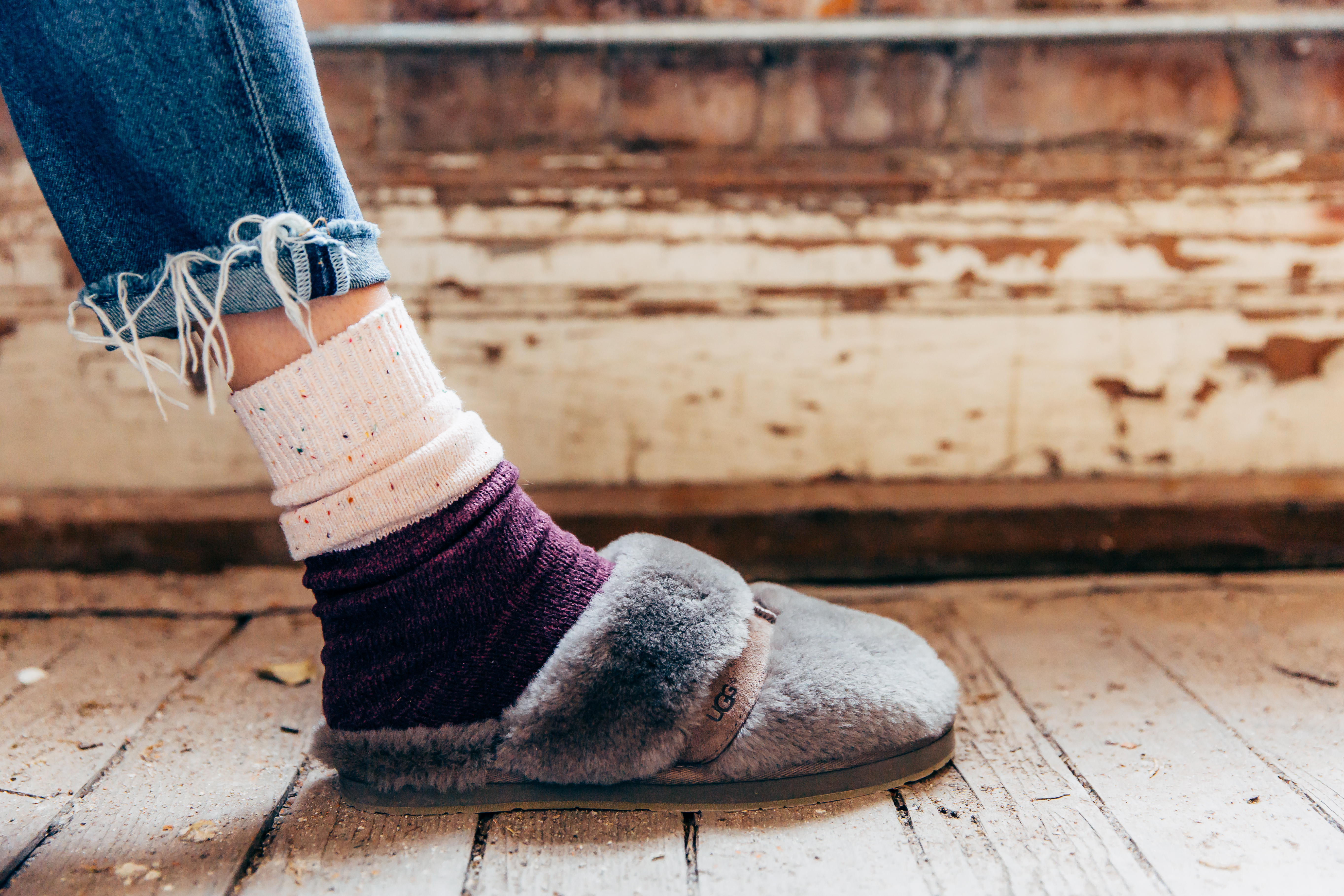 Muk Luks socks with UGG slippers | How To Style Socks With Shoes