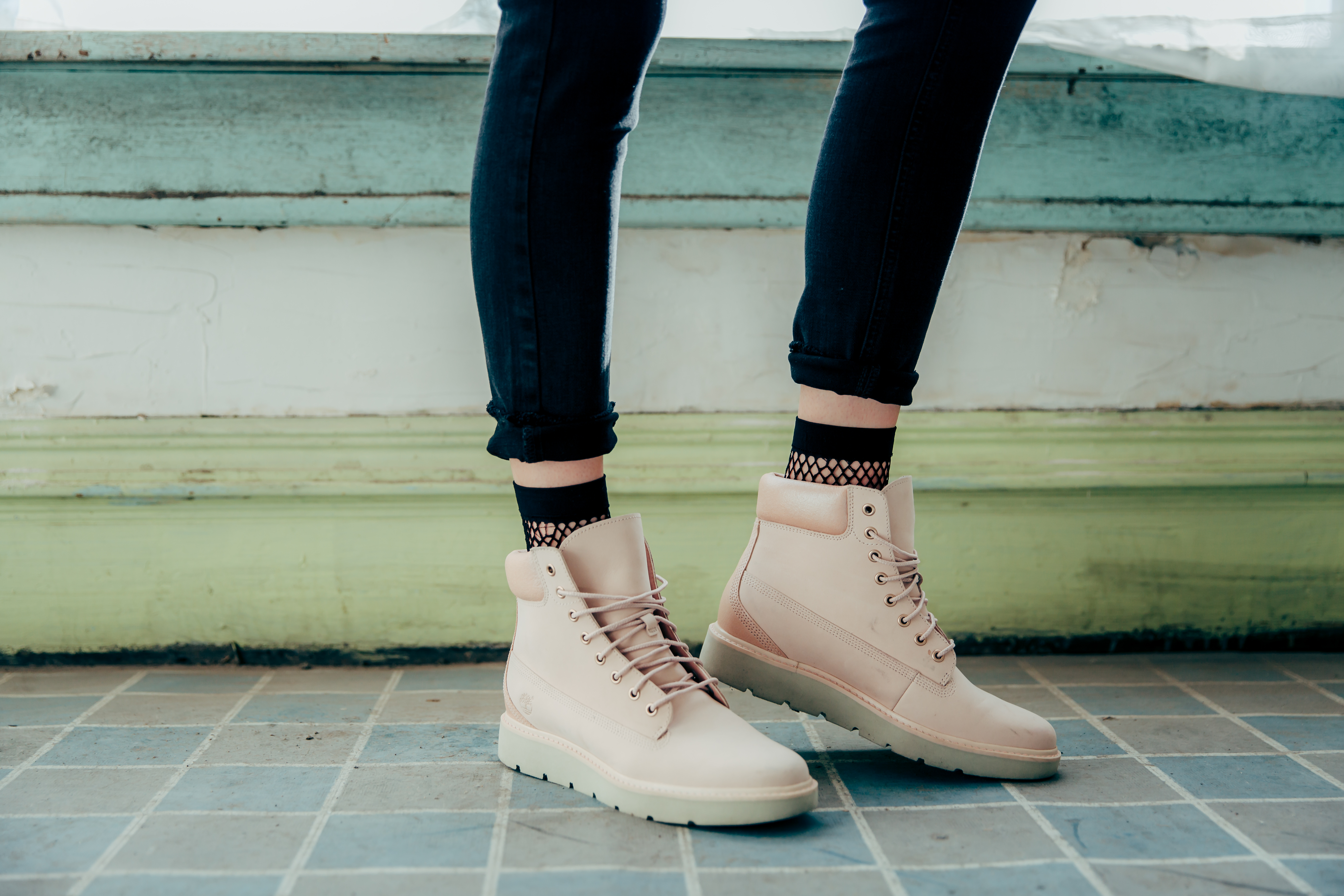 Fishnet Socks with Pink Timberlands | How to Style Socks With Shoes