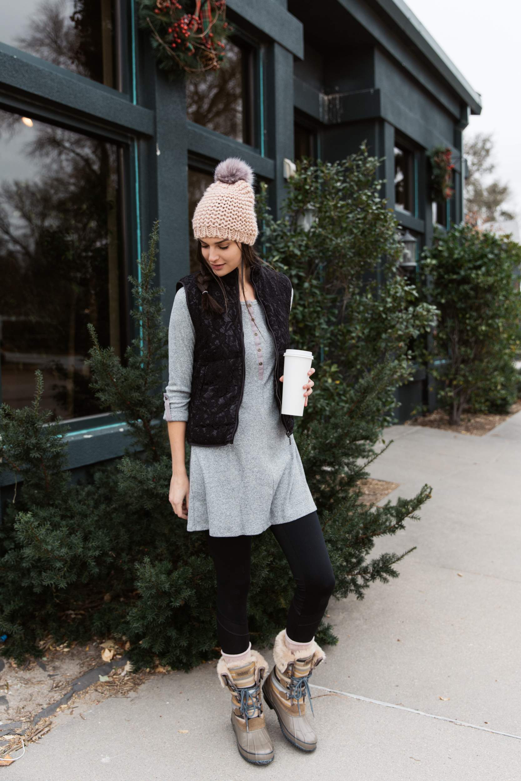 Repurpose your dress this holiday with a warm vest.