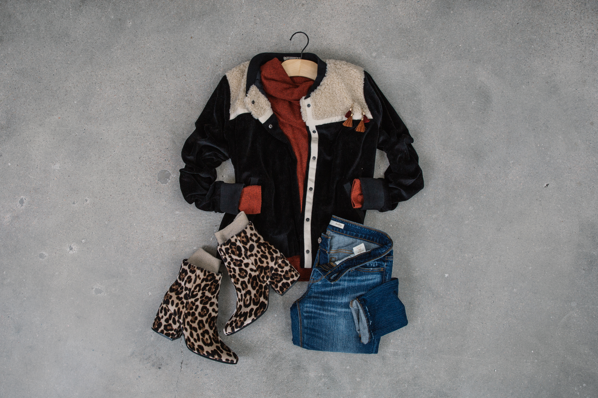 Gimmicks Sherpa Bomber with Steve Madden shoes in leopard print.