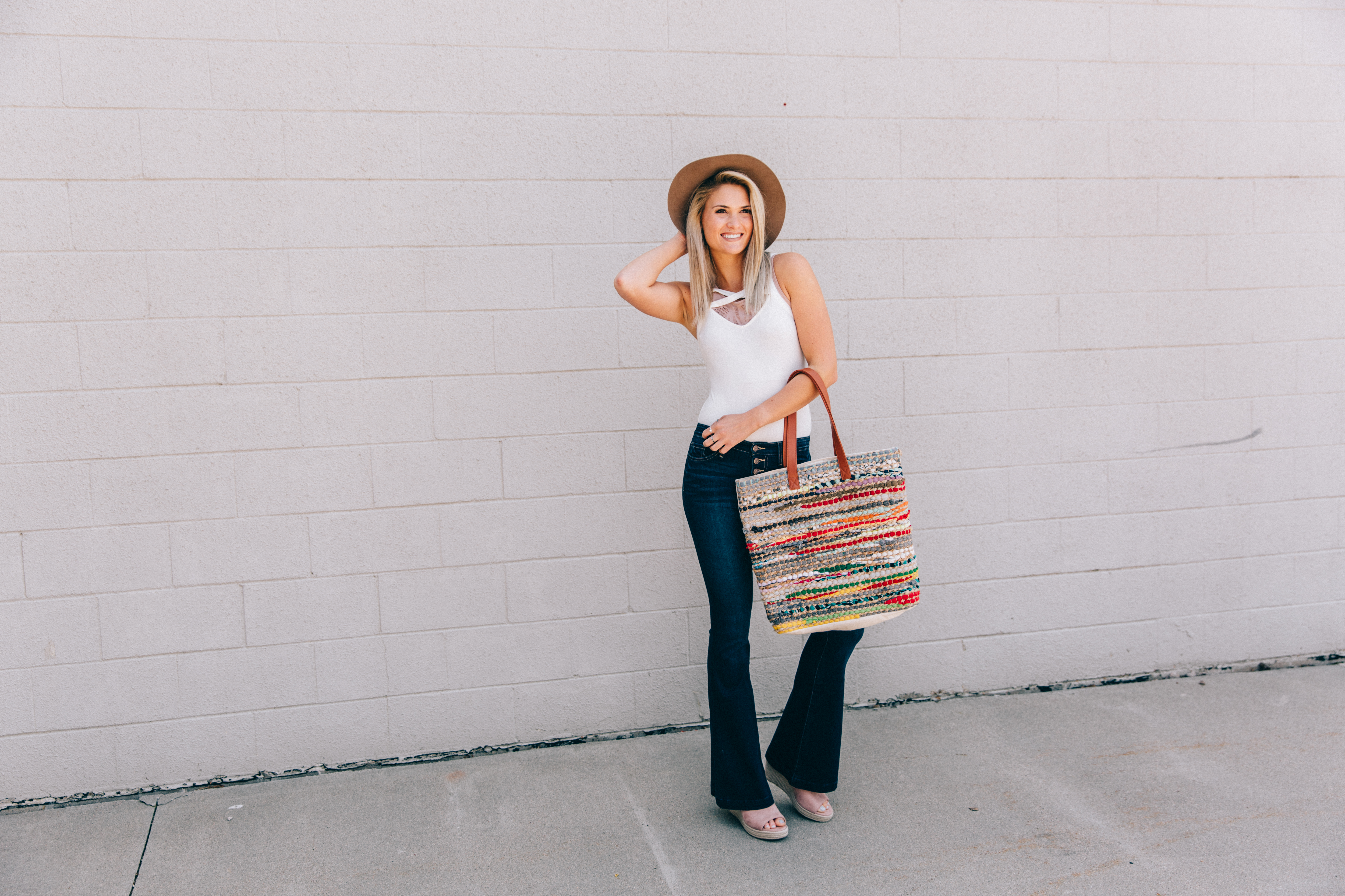 Classic jeans and white top look styled with accessories