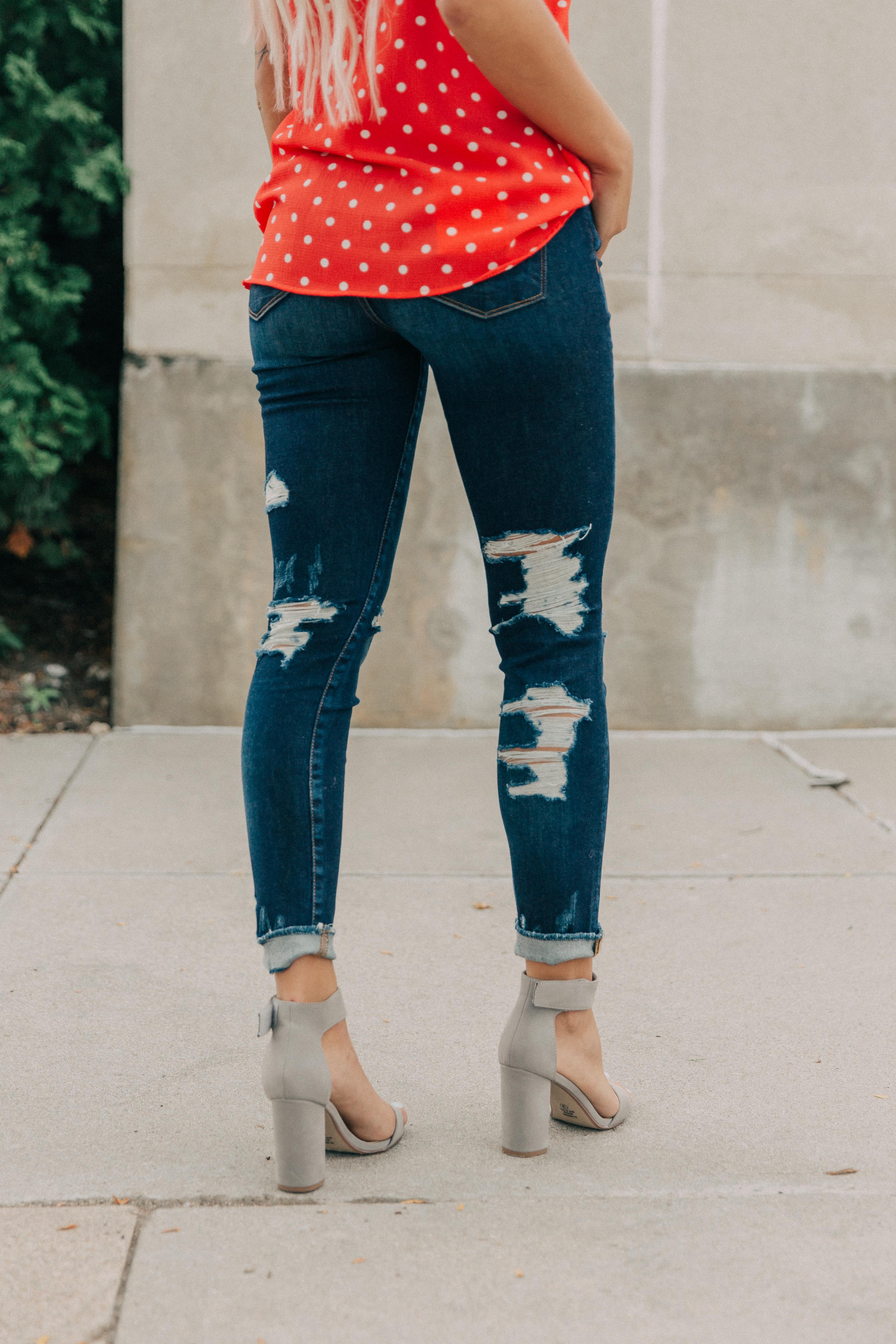 Bridge By GLY Dark Wash Back Destruction Skinny Denim Jeans - Buckle