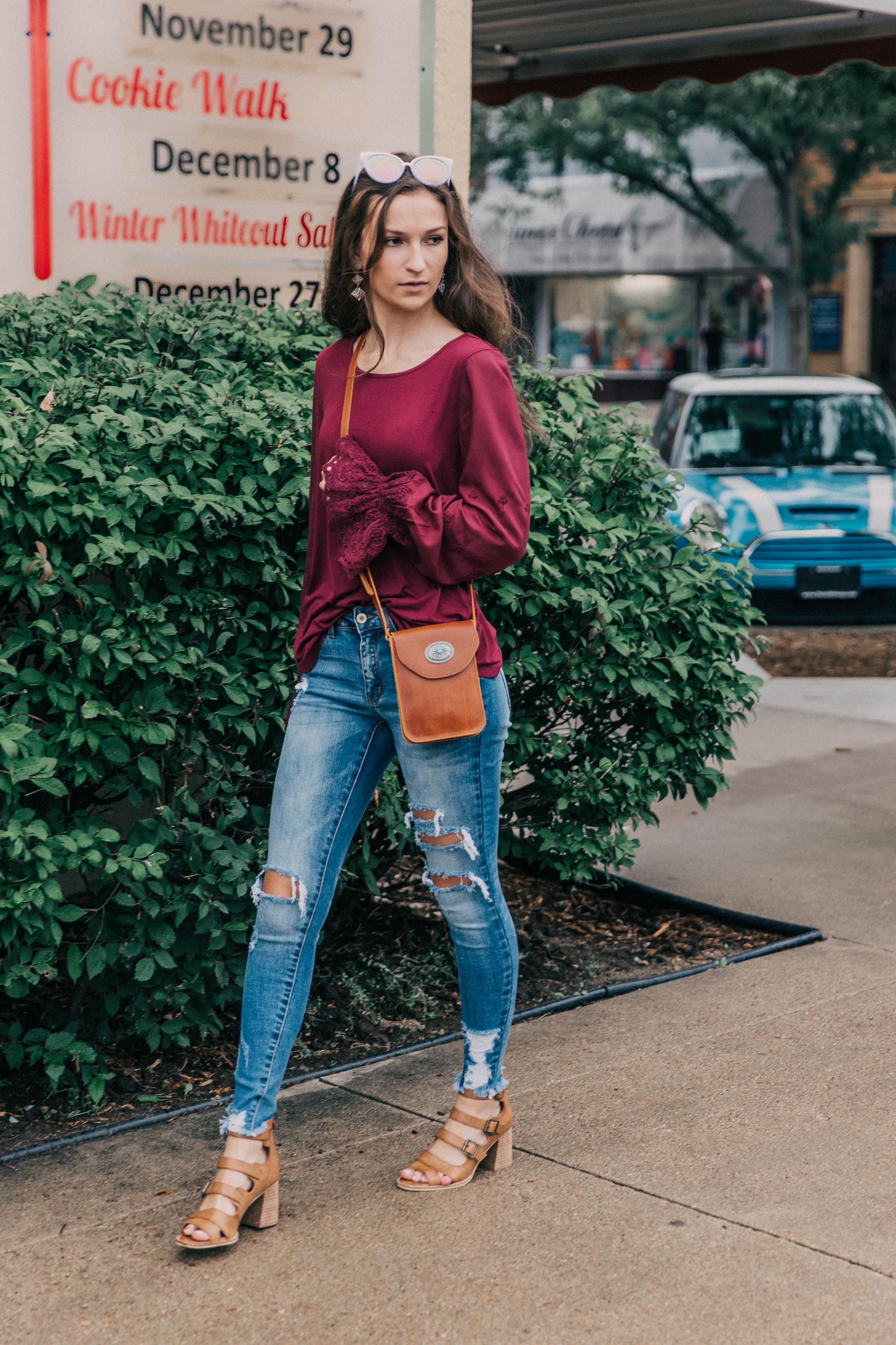 KanCan Destructed Hem Skinny Jeans - Buckle