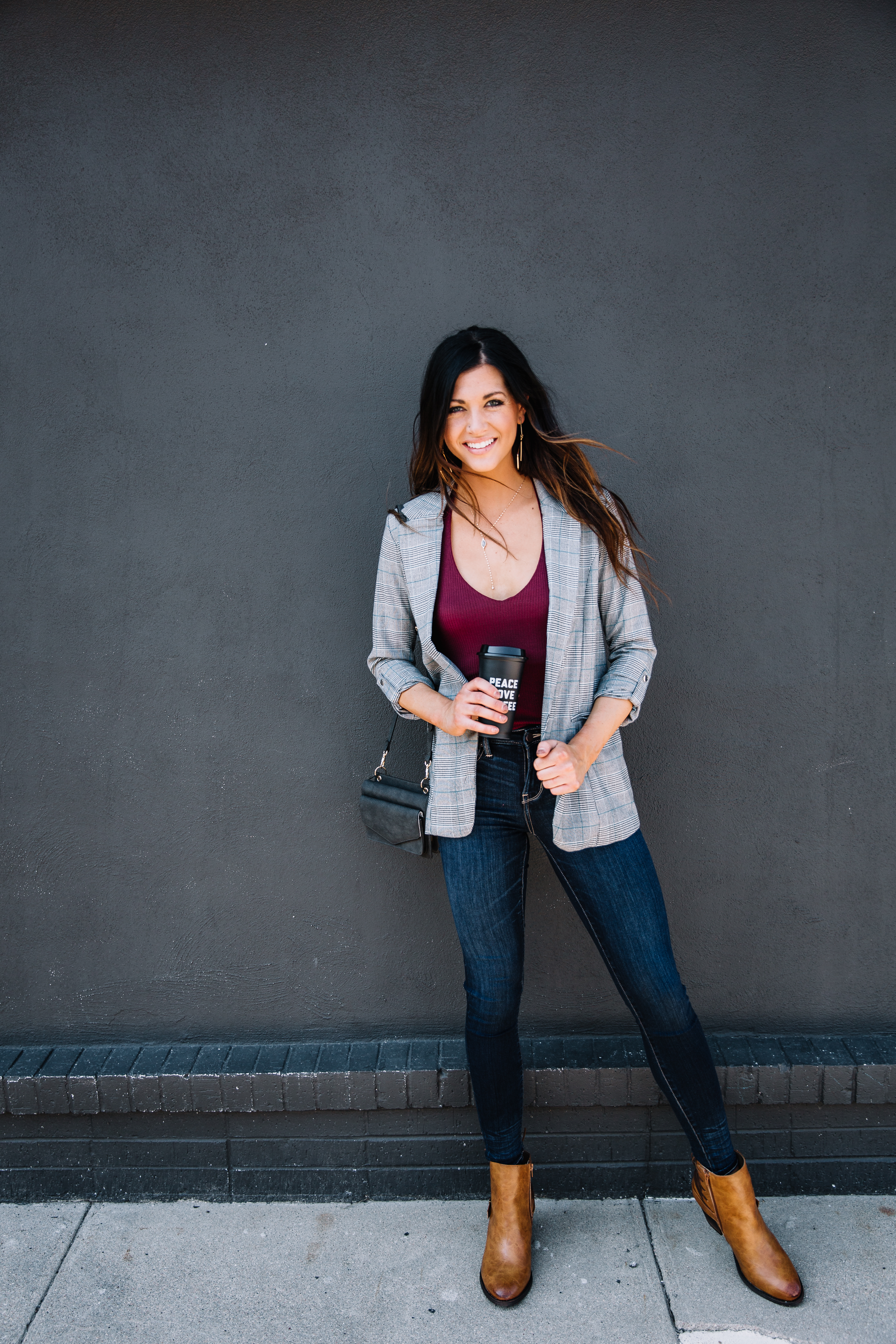 Women's Smart Casual Outfit - Blazer, Clean Denim, and Booties from Buckle