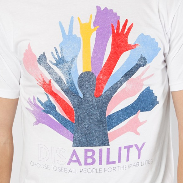 DisABILITY T-Shirt from Buckle. Shirt reads: Choose to see all people for their abilities.