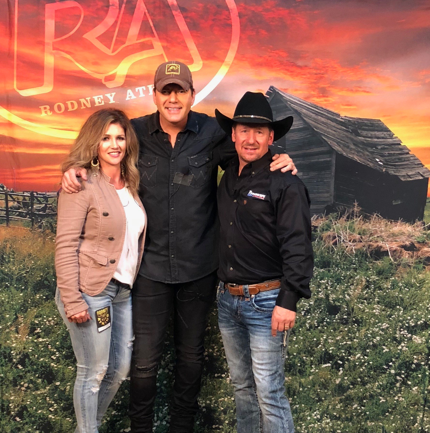 Jodi and Weston Clark with country singer Rodney Atkins on their TV show The Experience.
