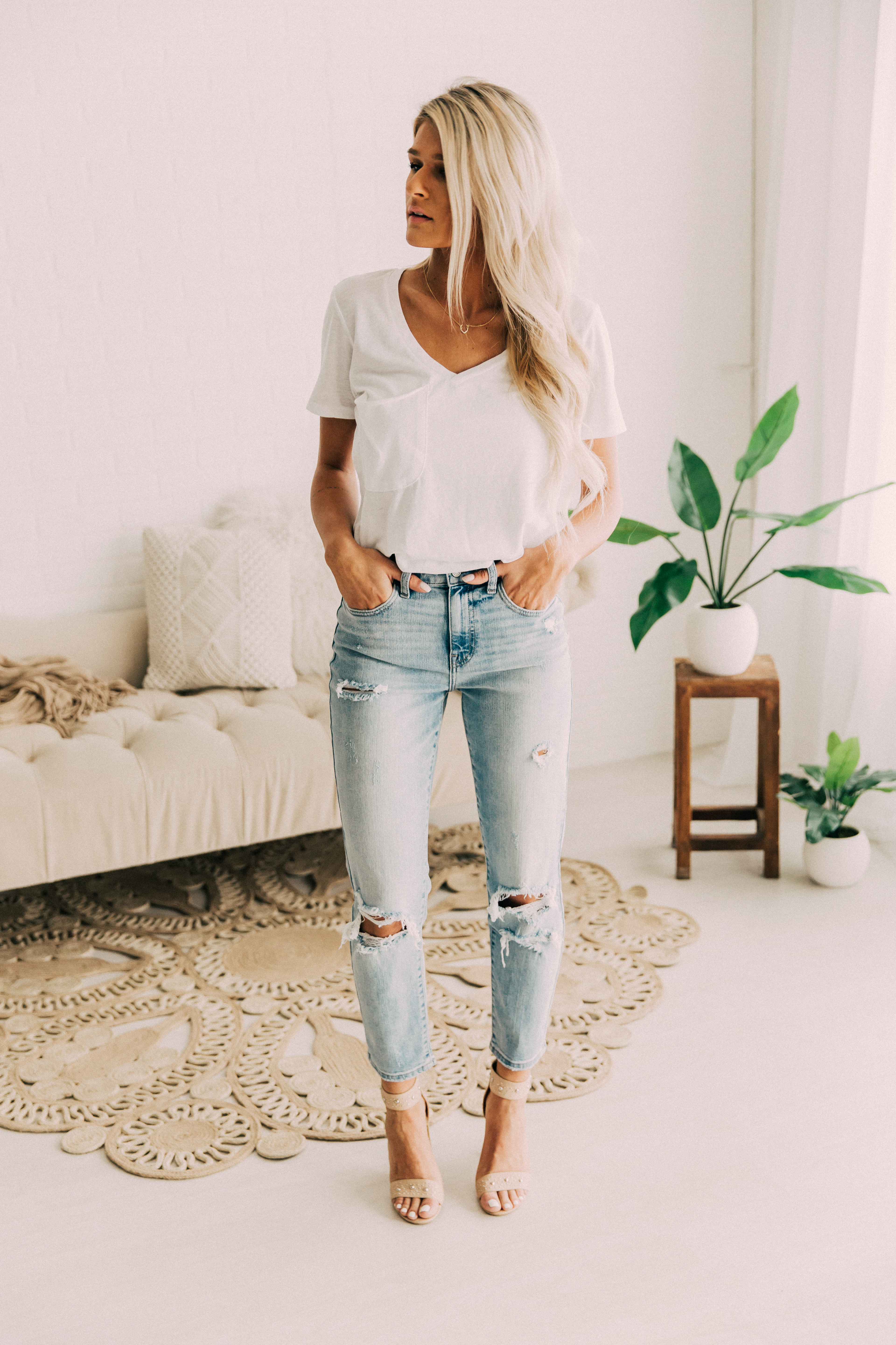 Willow + Root High Rise Light Wash Destructed Mom Jean