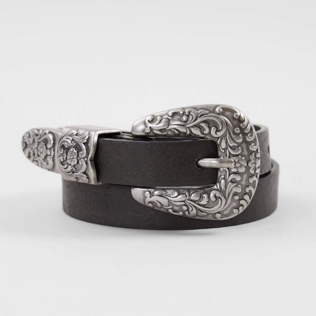 Women's BKE Black Faux Leather Western Belt
