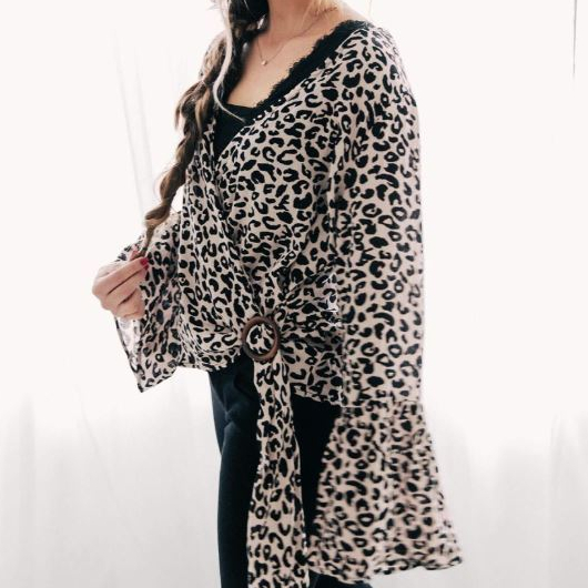 Women's Blu Pepper Leopard Bell Sleeve Wrap Top