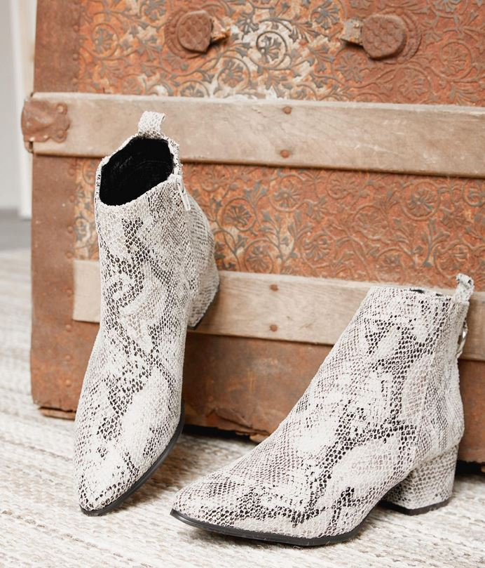 Women's Gimmicks Faux Snakeskin Ankle Boots