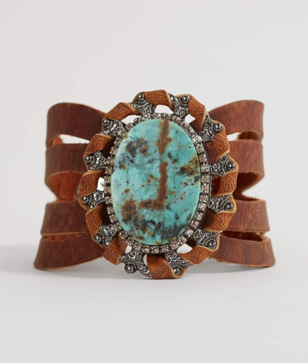 Women's Leatherock Glitz Turquoise Stone Leather Bracelet