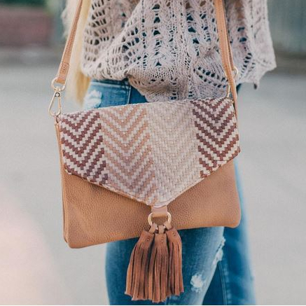 Women's Weaved Crossbody Purse with Fringe Tassel From Buckle