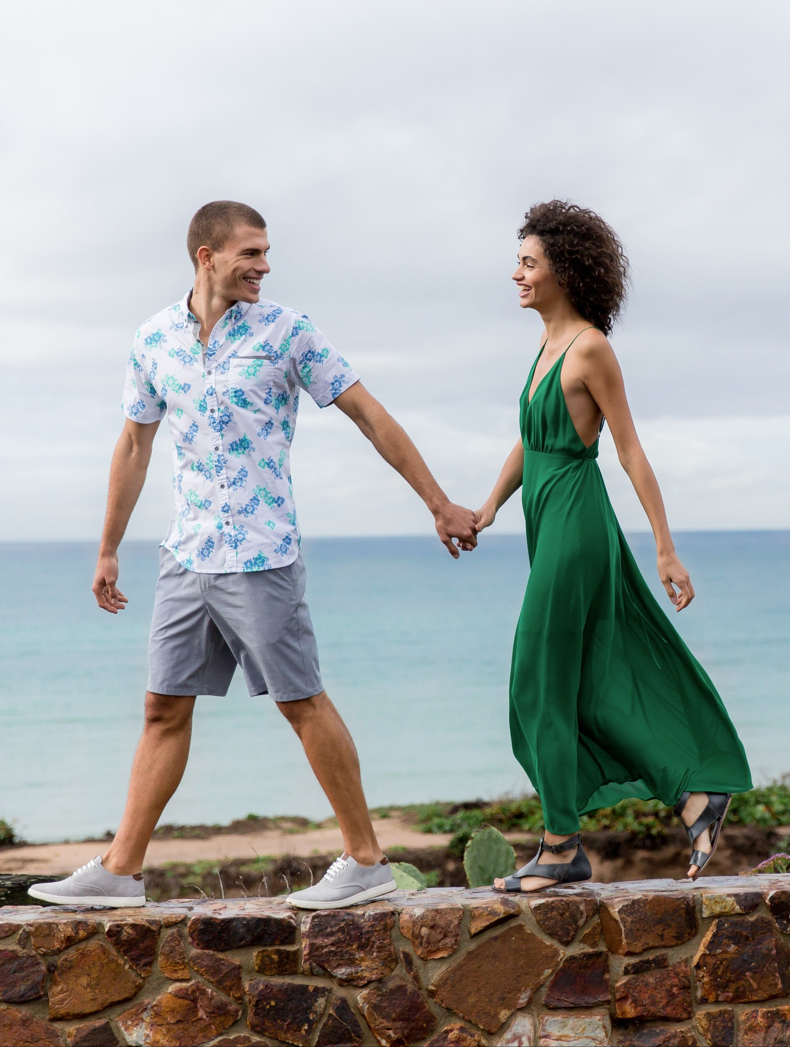Men's and Women's Vacation Outfits From Buckle featuring a Departwest button-up shirt, BKE Shorts, Steve Madden sneakers, Essue maxi dress and Roan Sandals