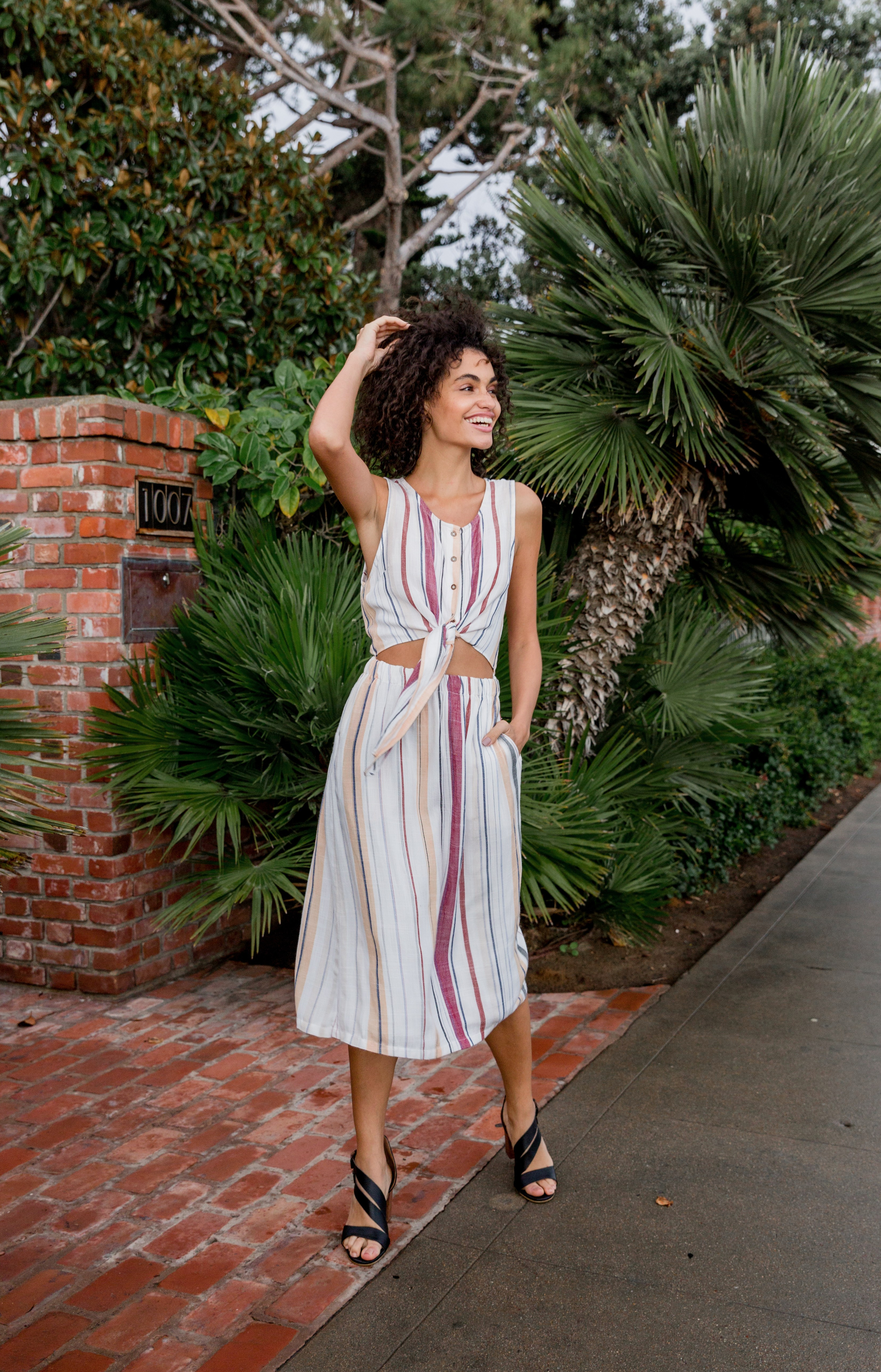 Women's Vacation Outfit from Buckle featuring a RVCA striped dress and Crevo heels sandals