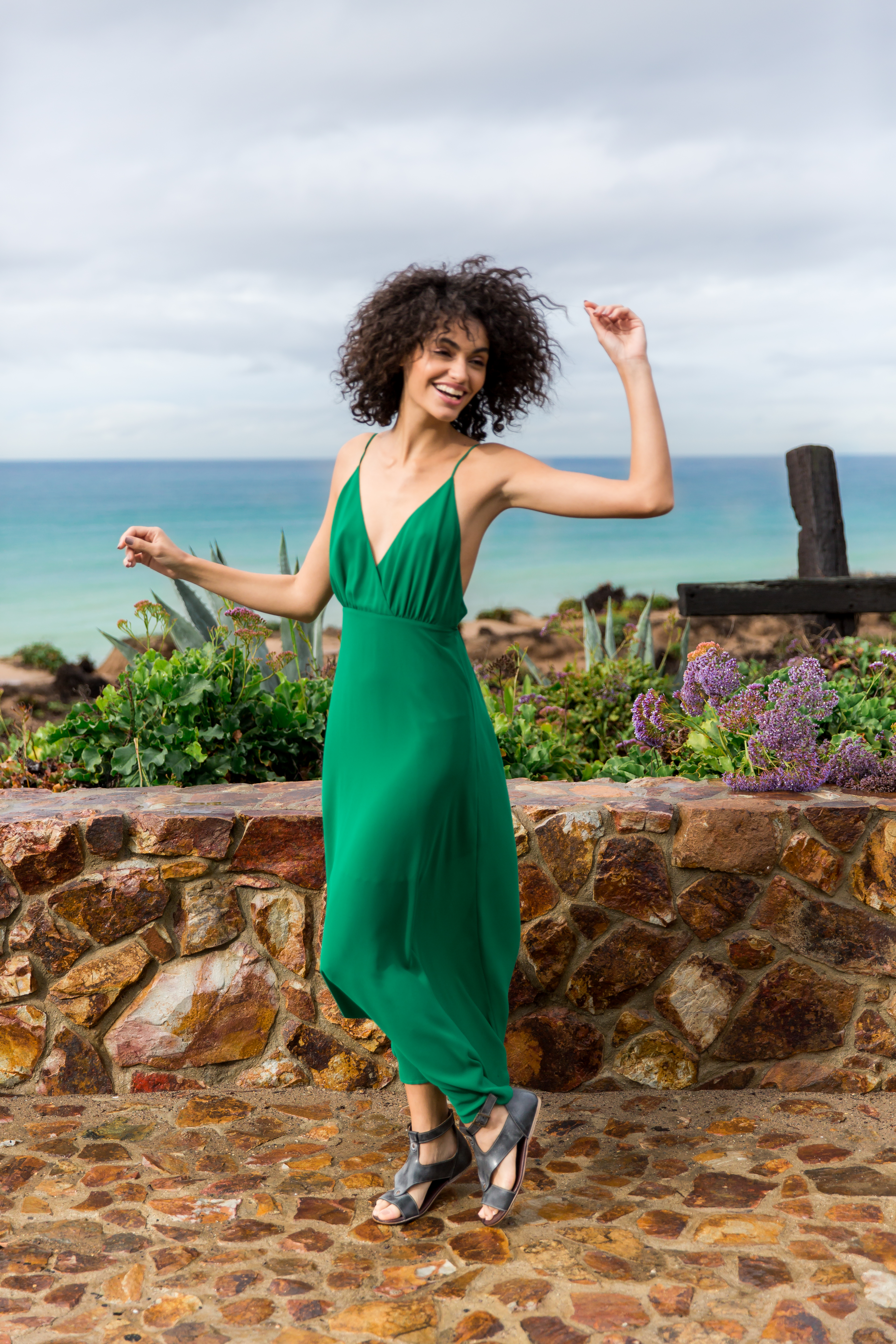 Women's Vacation Outfit from Buckle featuring an emerald green maxi dress from Essue and leather sandals from Roan