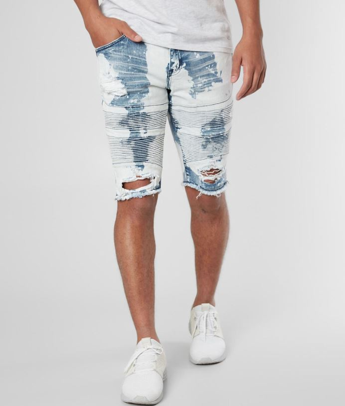 Men's Crysp Denim Distressed Bleached Moto Short