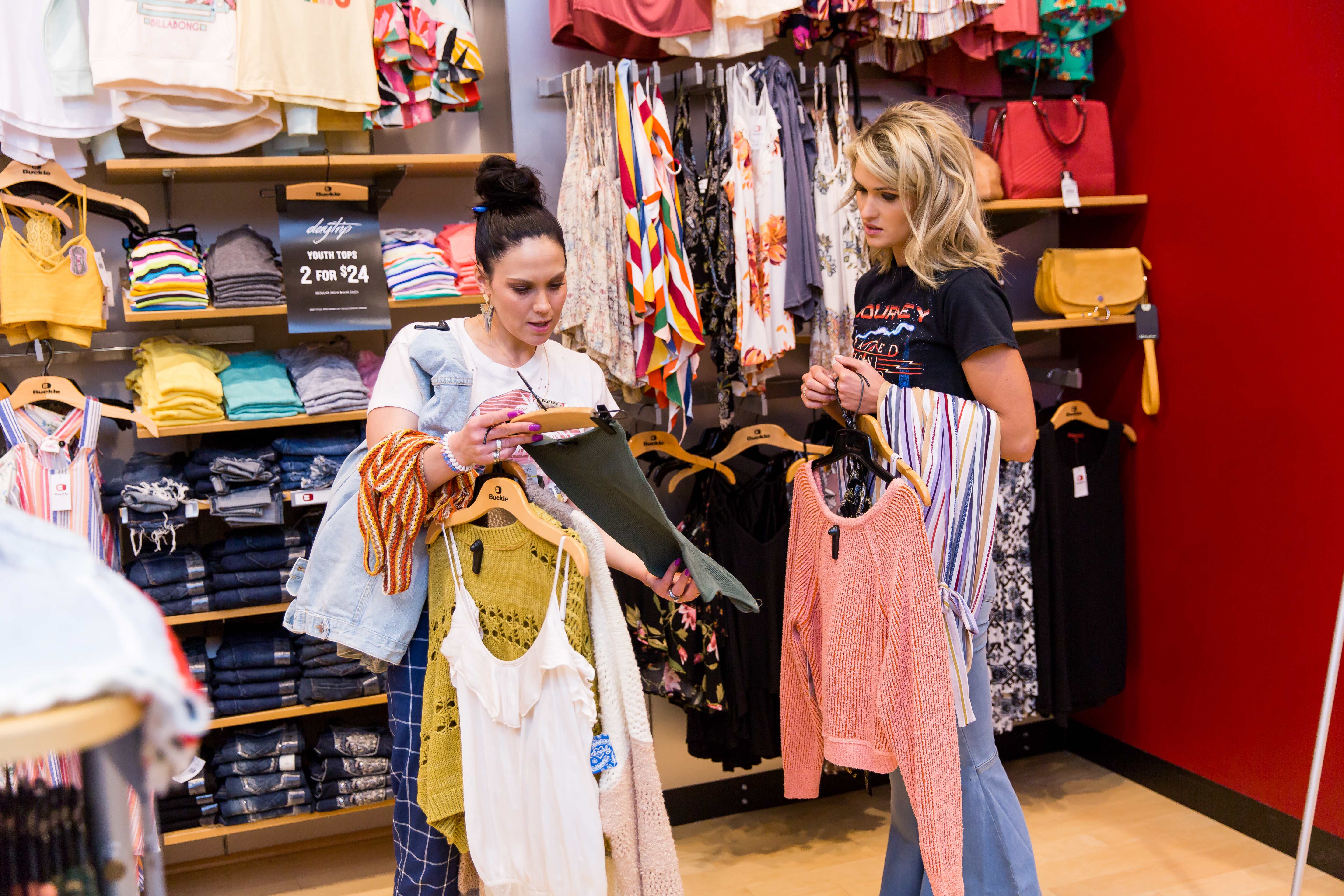 Miss Nebraska USA, Lex Najarian, with store manager Keisha Johnson during her personal styling session at Hilltop Mall Buckle in Kearney Nebraska