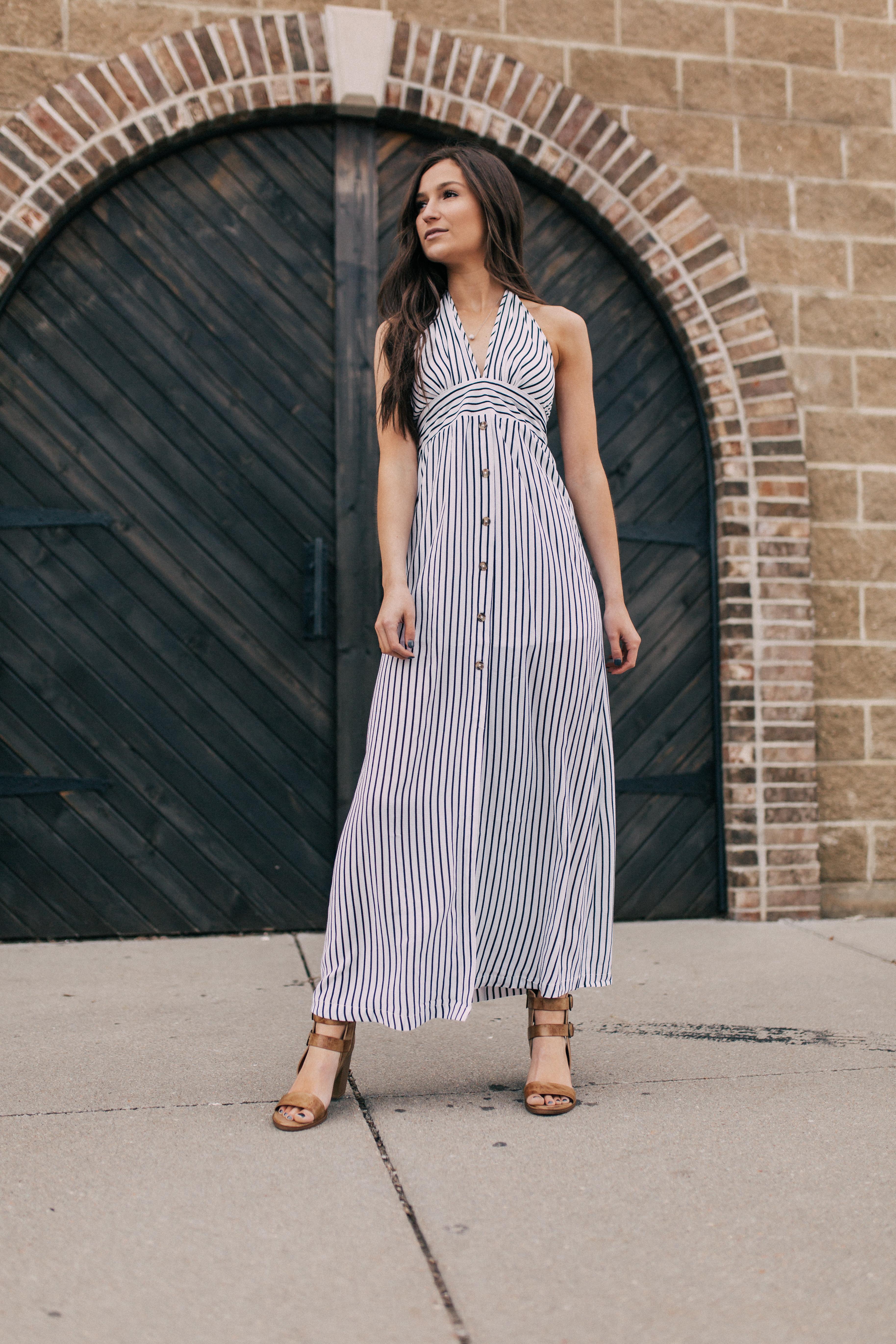 Women's Favlux Striped Halter Maxi Dress