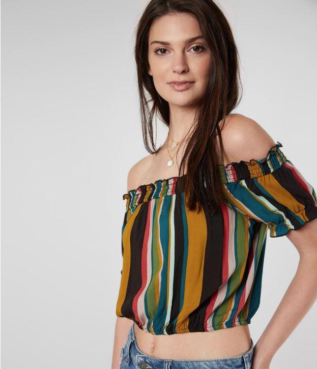Women's Mimi Chica Off-Shoulder Multicolored Striped Top