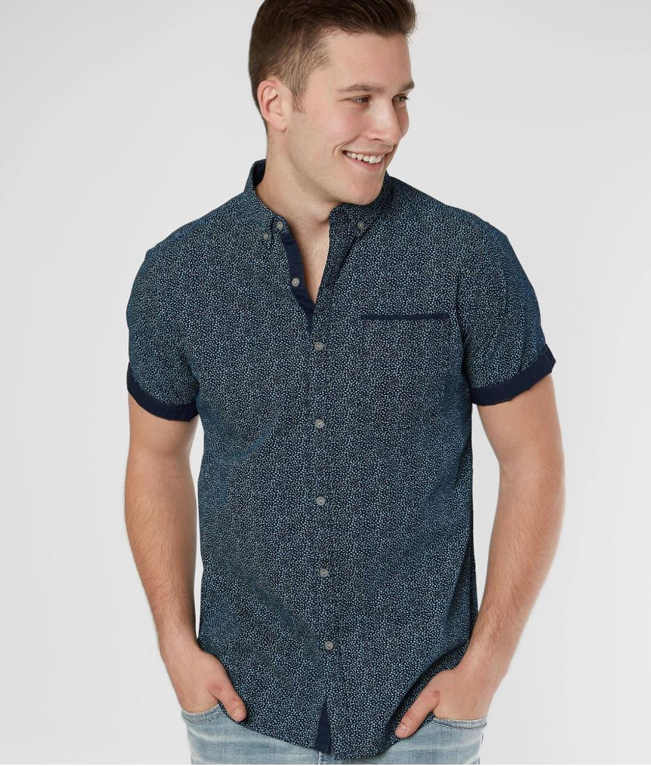 Men's Departwest Navy Blue Printed Button-up Short Sleeve Shirt