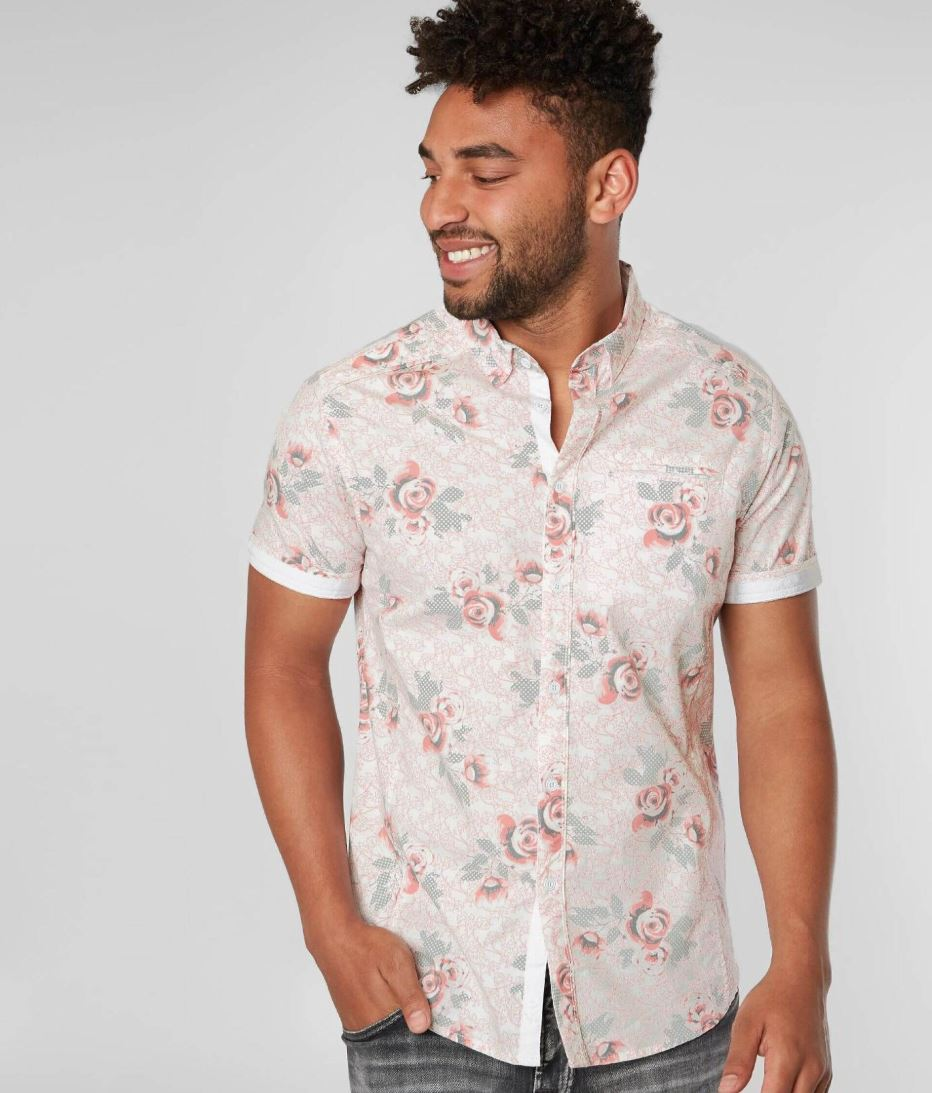 Men's J.B. Holt Floral Print Button-up Short Sleeve Shirt