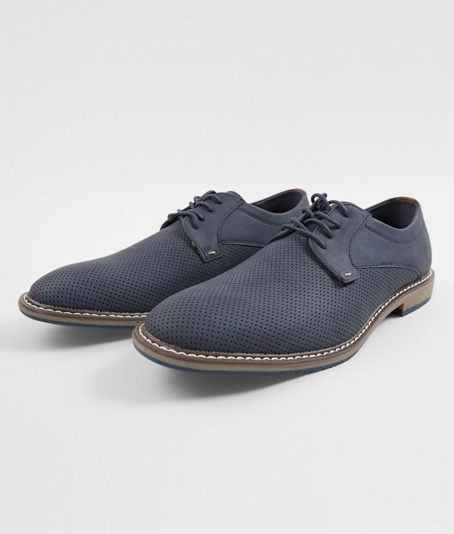 Men's Steve Madden Navy Pierced Faux Suede Perforated Lace-up Dress Shoes