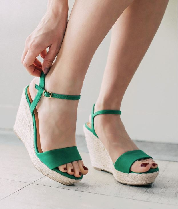 Women's My Delicious Shoes Emerald Green Espadrille Wedges