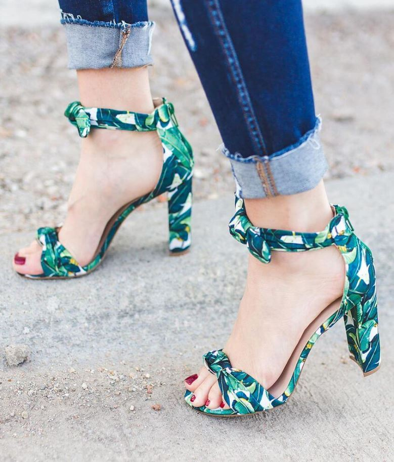 Women's Qupid Tropical Foliage Leaf Print Heels