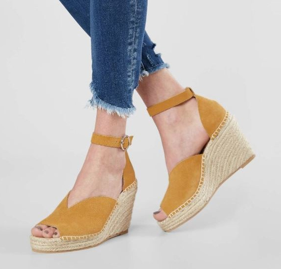 Women's Seychelles Mustard Suede Collectible Leather Espadrille Wedges