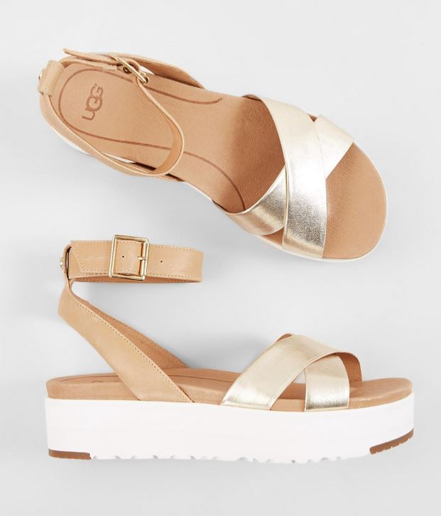 Women's Ugg Tipton Gold Metallic Leather Flatform Sandal