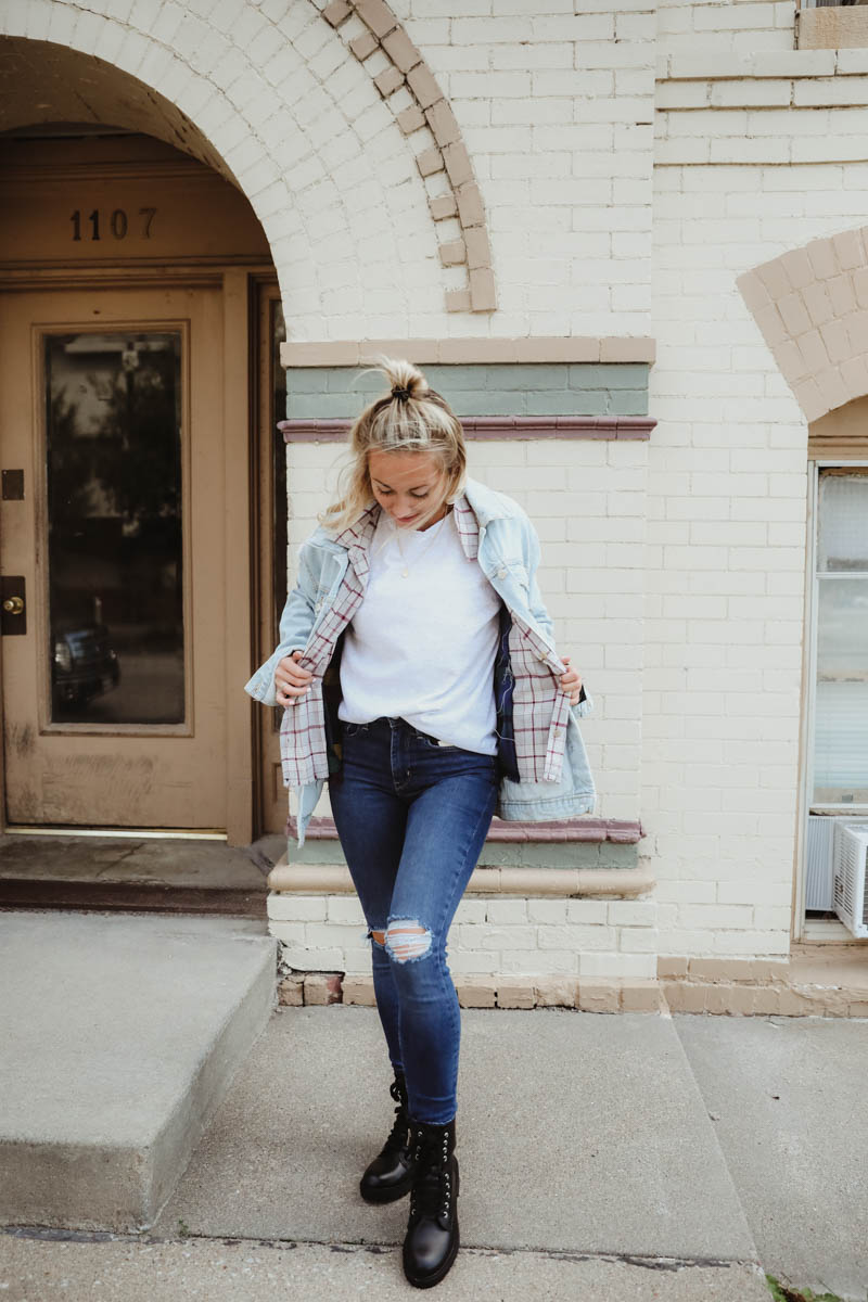 Women's Outfit For Fall - Gilded Intent White Tee, Gilded Intent Plaid Flannel, Ashley Denim Jacket, Levi's 311 Shaping Skinny Jeans, Steve Madden Black Combat Boots