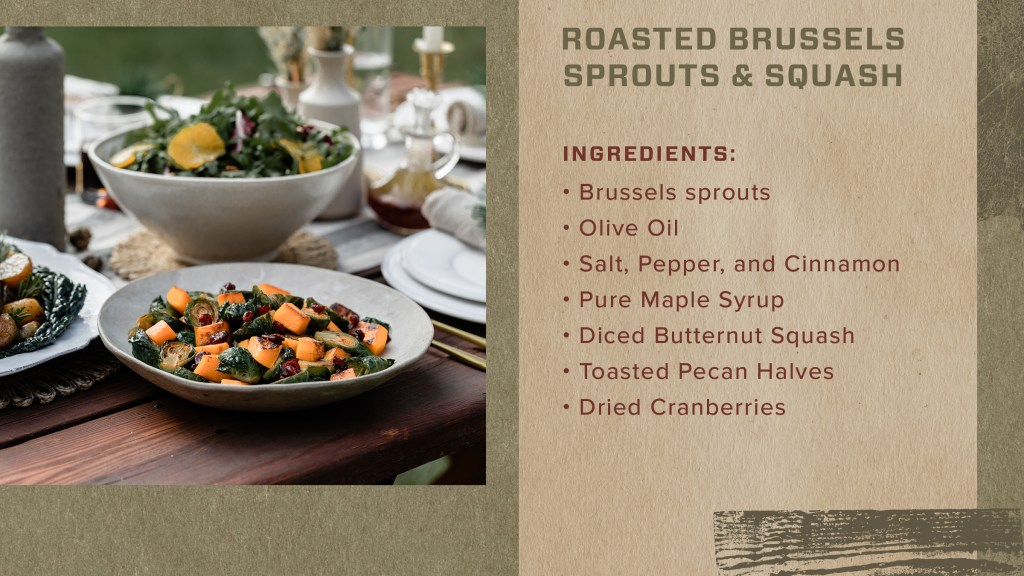 Here with the perfect side, also known as roasted brussels sprouts and spinach.