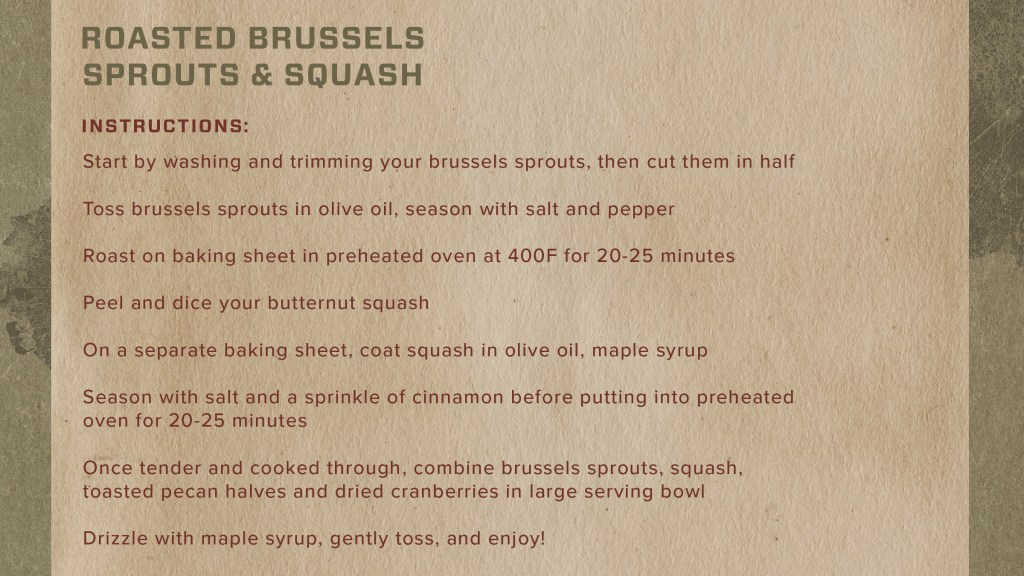 instructions for one of our favorite sides: roasted brussels and squash