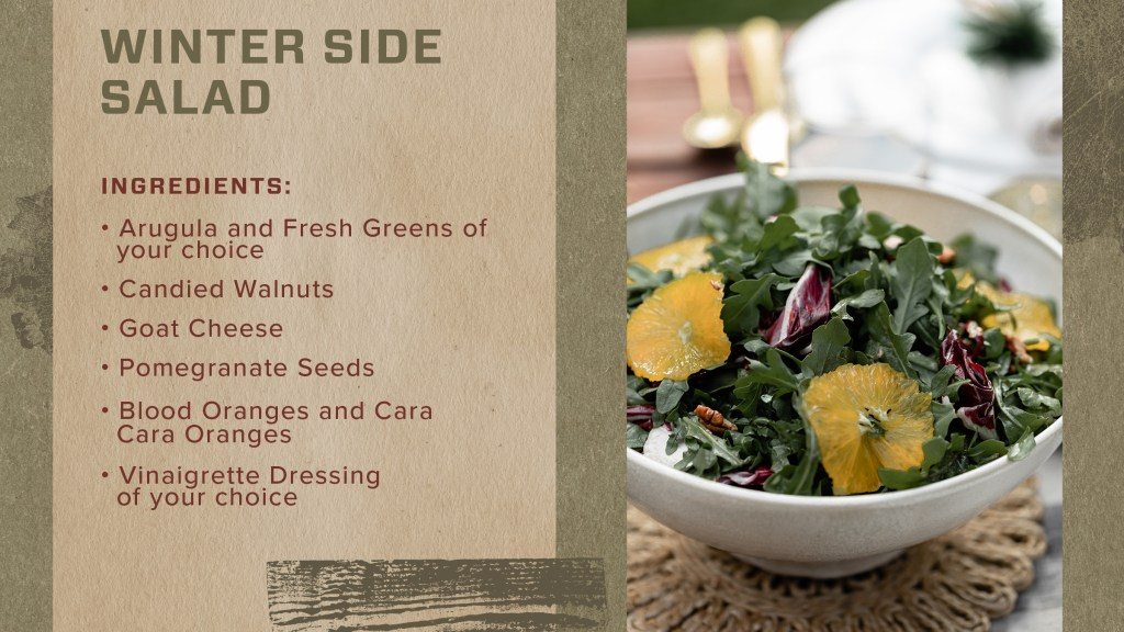 we're keeping things light (at least to start) this holiday, with a winter salad that's sure to be a hit!